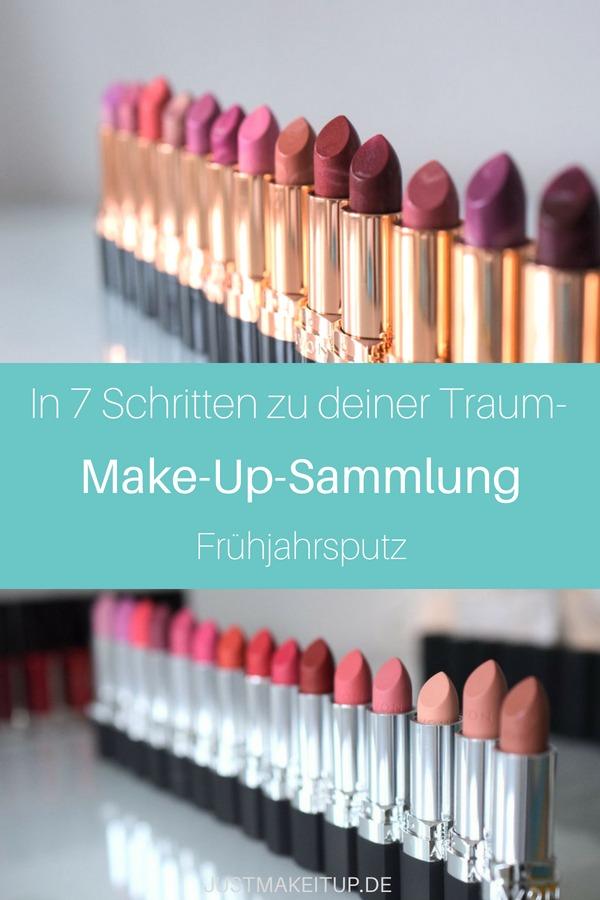 Der Make-Up-Frühjahrsputz: In 7 Schritten zu deiner Traum-Make-Up-Sammlung. Den Make-Up-Schrank ausmisten, unbenutze Produkte weggeben und aus den übrigen Make-Up-Produkten deine Traum-Make-Up-Sammlung zusammenstellen. #makeupprodukte #makeupsammlung #justmakeitup