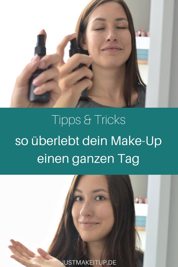 Mit diesen Makeup-Tipps hält dein Make-up den ganzen Tag über. Makeup haltbar machen ist ganz einfach, wenn du die richtigen Tipps kennst: Primer auftragen, Makeup richtig auftragen, Fixing-Spray auftragen. #makeuptipps #beautyblog #justmakeitup