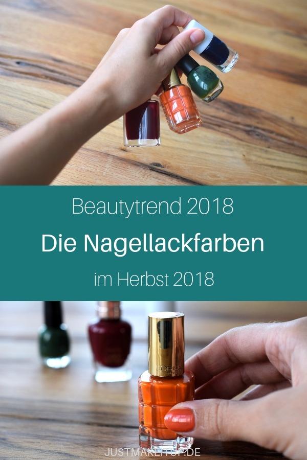 Das sind die Nagellack-Farben im Herbst 2018. Roter Nagellack, orange, grün, blau-metallic. Die typischen, dunkleren Herbstfarben für die Nägel sind wieder mit dabei. Du suchst nach neuen Nagellackideen und -inspiration? Hier findest du einige Farbvorschläge für die kommenden Herbstmonate. Viel Spaß beim Nägel lackieren und deiner Maniküre.  #justmakeitup #nagellack #beauty #beautytipps